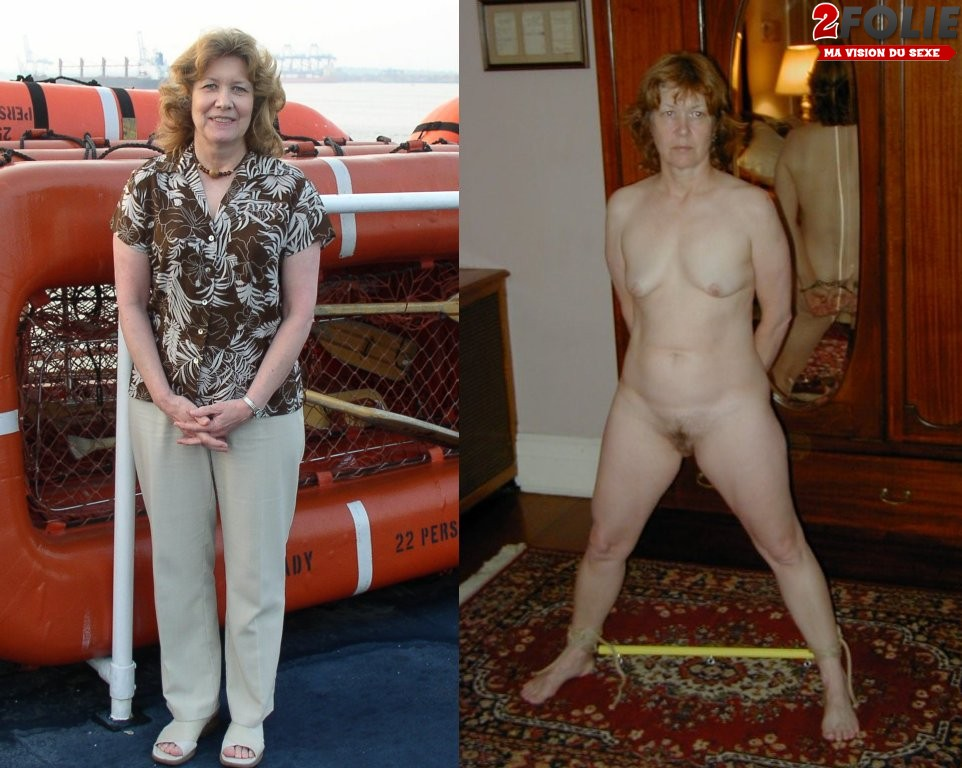 Naked and clothed wife